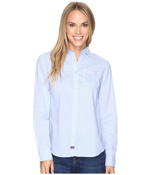 U.S. POLO ASSN. Flower Print Poplin Long Sleeve Shirt