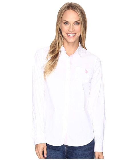 U.S. POLO ASSN. Stretch Poplin Roll Cuff Shirt