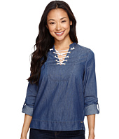 U.S. POLO ASSN. - Long Sleeve Lace Front Denim Pullover
