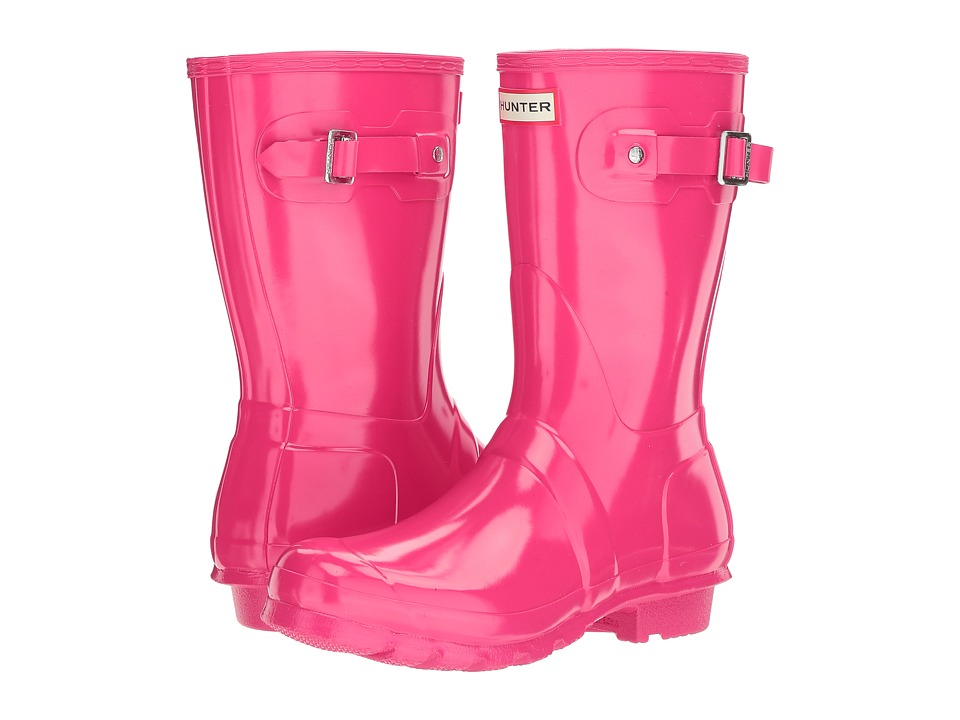 Hunter Original Short Gloss Rain Boots (Bright Pink) Women