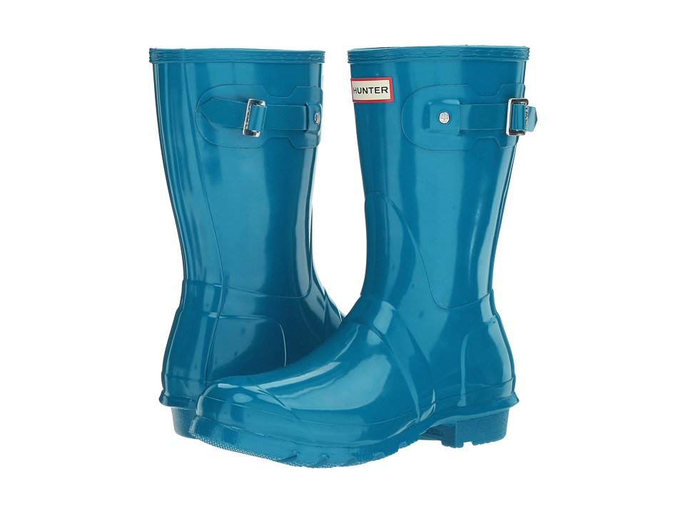 Hunter Original Short Gloss Rain Boots (Ocean Blue) Women