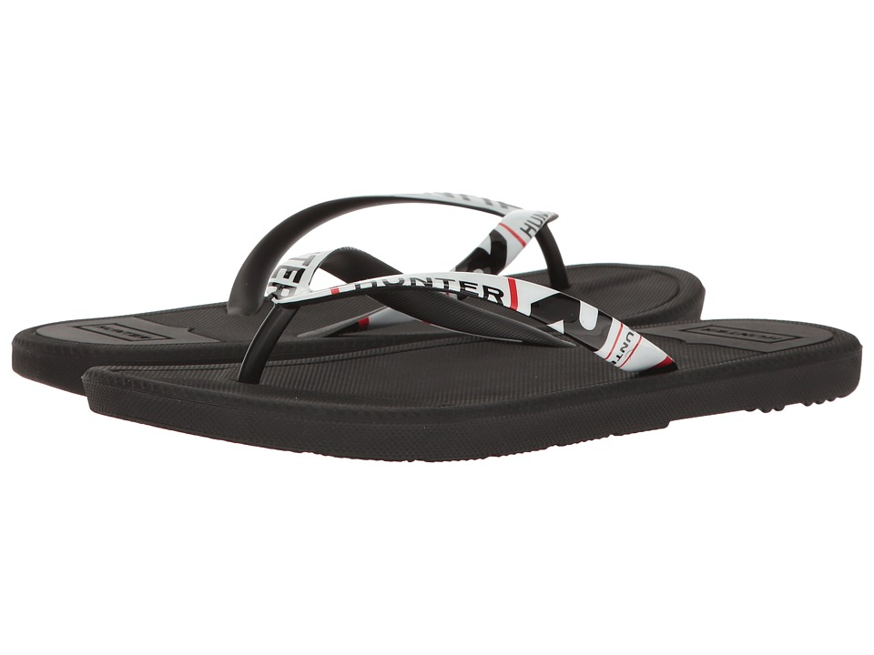 Hunter Original Exploded Logo Flip-Flop (Black) Women