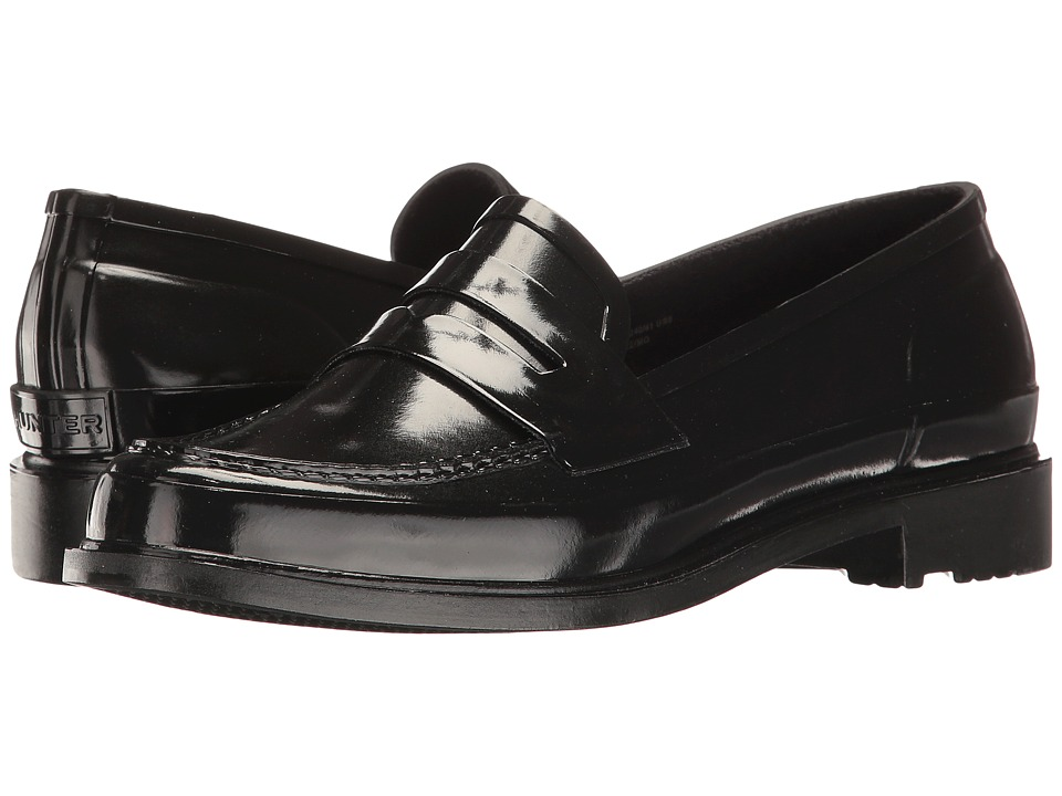 Retro Vintage Flats and Low Heel Shoes Hunter - Original Penny Loafer Black Womens Shoes $134.95 AT vintagedancer.com