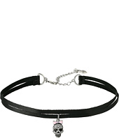 Betsey Johnson - Pave Skull Charm 2 Row Choker Necklace