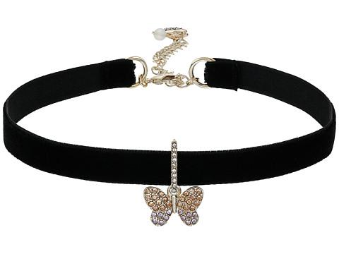 Betsey Johnson Pave Butterfly Charm Choker Necklace - Black