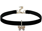 Betsey Johnson - Pave Butterfly Charm Choker Necklace