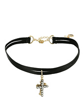 Betsey Johnson - Double Cross Charm 2 Row Choker Necklace