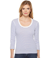 Three Dots - Stripe 3/4 Sleeve Scoop Neck
