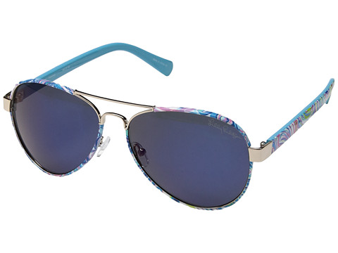 Lilly Pulitzer Ainsley - Shiny Gold/Guilty Pleasure/Polarized Blue Mirror Lens