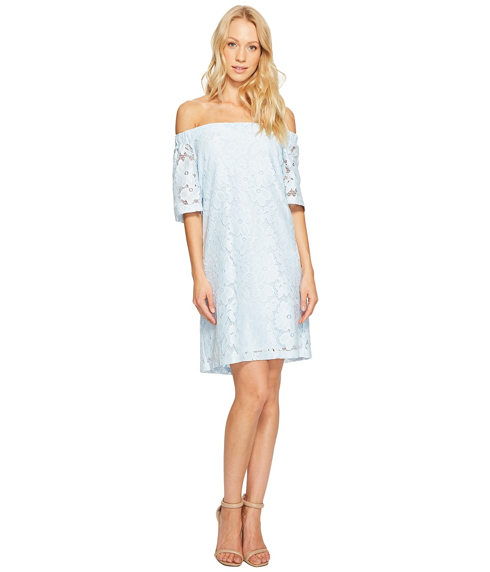 Donna Morgan - Off the Shoulder Short Sleeve Knit Lace Shift Dress (Blue Ice) Womens Dress