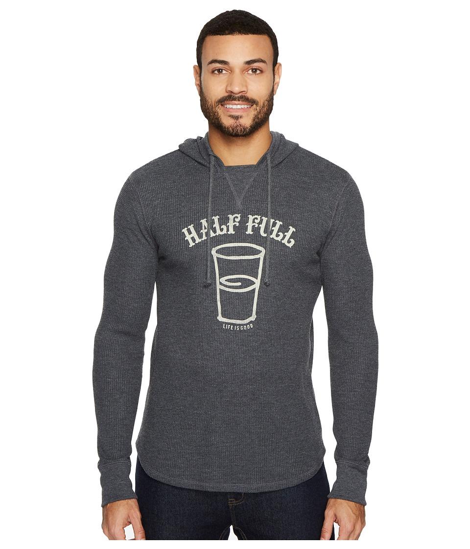 Life is Good Half Full Arc Hooded Waffle Pullover (Night Black) Men