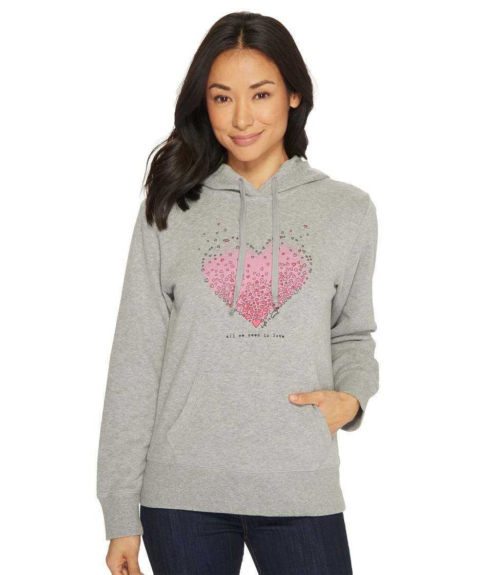 Life Is Good Tiny Hearts Go-To Hoodie (Heather Gray Dog) ...