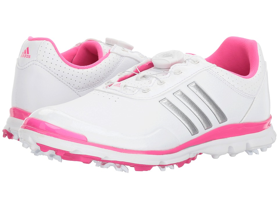 adidas Golf Adistar Lite Boa (Footwear White/Silver Metallic/Shock Pink) Women's Golf Shoes