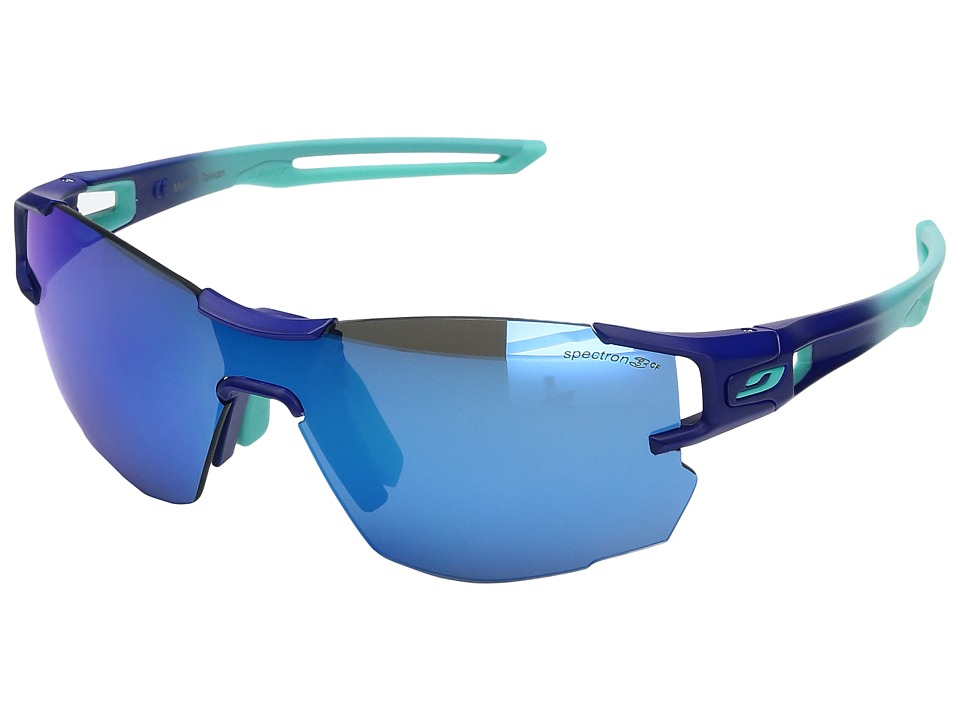 Image of Julbo Eyewear - Aerolite Sunglasses (Blue/Green with Spectron 3 color flash Lens) Athletic Performance Sport Sunglasses
