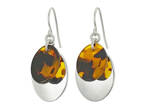 LAUREN Ralph Lauren Double Oval Metal Drop Earrings - Silver/Tortoise