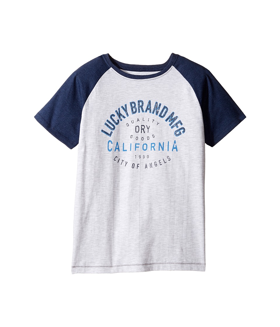Lucky Brand Kids Dry Goods Raglan Tee w/ Short Sleeves (Big Kids) (White Heather) Boy