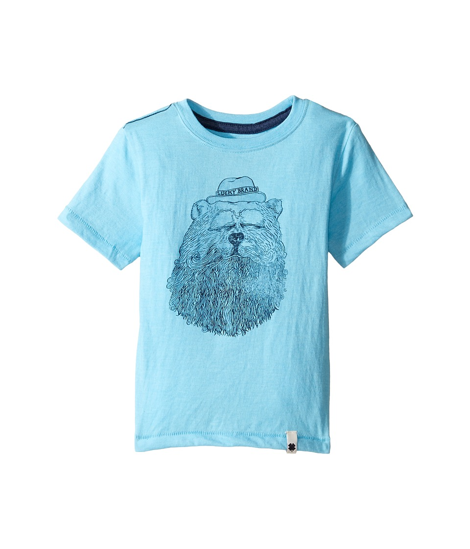 Lucky Brand Kids Gentleman Bear Tee w/ Short Sleeves (Toddler) (Aqua Heather) Boy