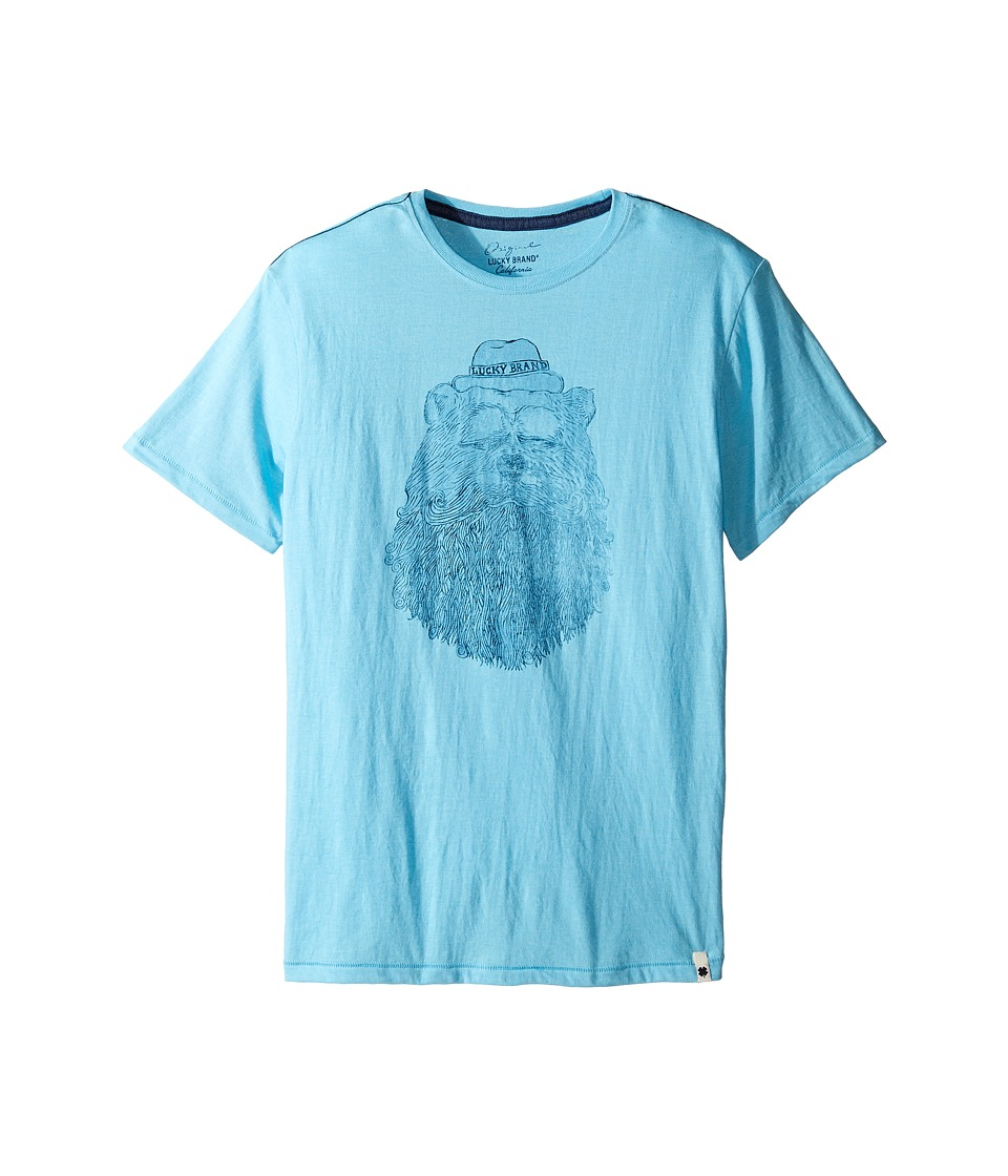 Lucky Brand Kids Gentleman Bear Tee w/ Short Sleeves (Big Kids) (Aqua Heather) Boy