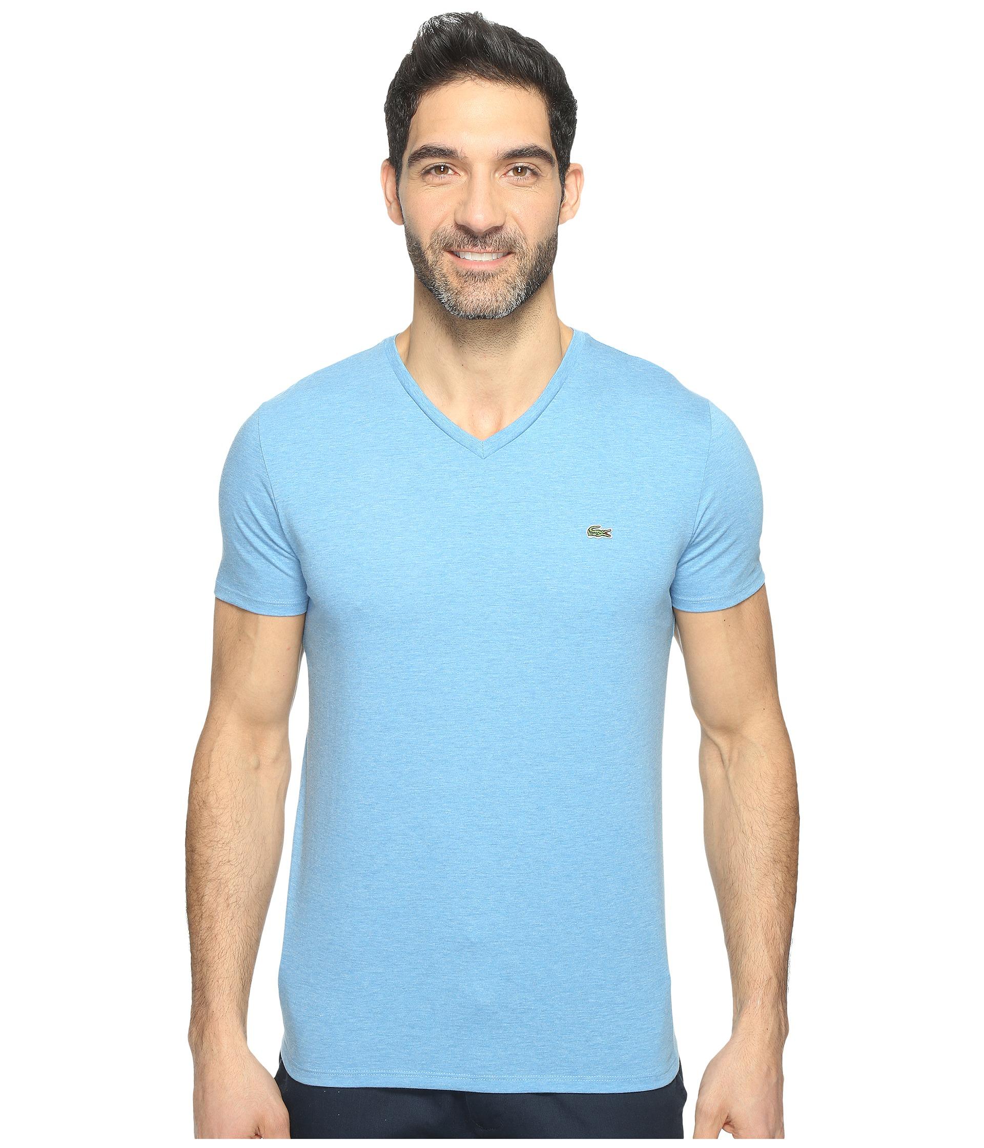 lacoste short sleeve v neck pima jersey tee shirt horizon. Black Bedroom Furniture Sets. Home Design Ideas