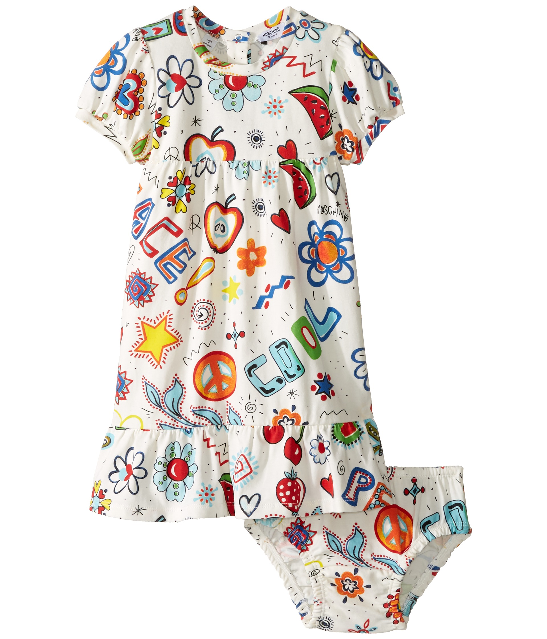 Moschino Kids All Over Hippy Print Dress & Diaper Cover