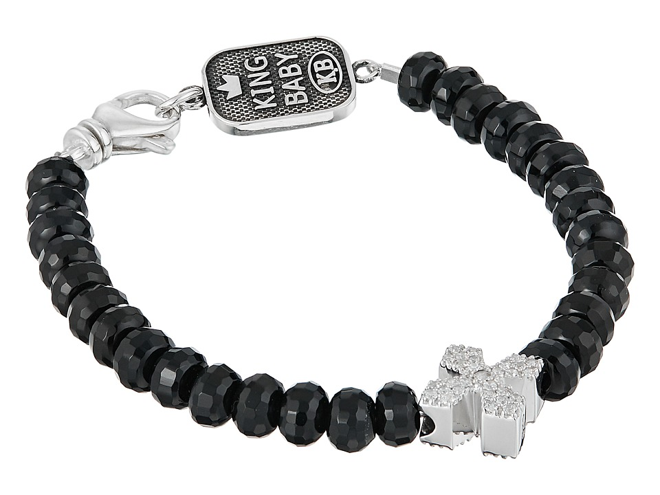 King Baby Faceted Onyx Bracelet w/ Pave Cross (Silver) Br...