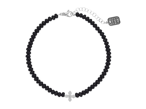 King Baby Studio Faceted Onyx Choker w/ Pave CZ MB Cross - Black