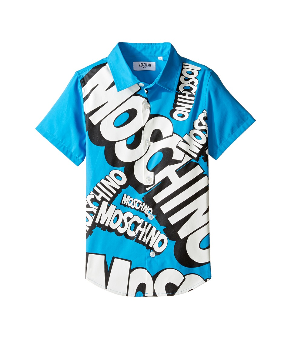 Moschino Kids Moschino Kids - Short Sleeve Button Down Shirt w/ Logo Graphic on Front