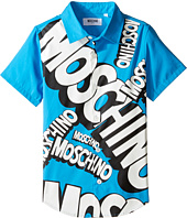 Moschino Kids - Short Sleeve Button Down Shirt w/ Logo Graphic on Front (Little Kids/Big Kids)