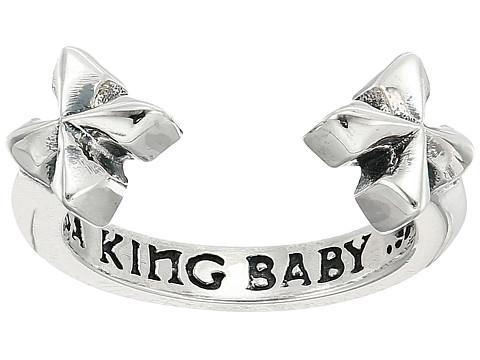 King Baby Studio Open Ring w/ MB Crosses - Silver