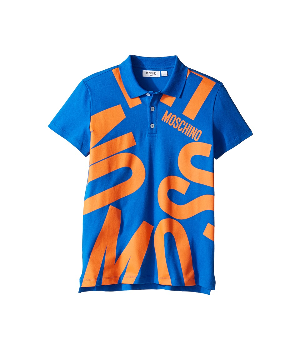 Moschino Kids - Short Sleeve Polo w/ Logo Graphic on Front