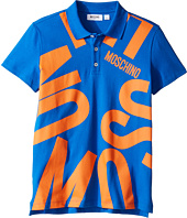 Moschino Kids - Short Sleeve Polo w/ Logo Graphic on Front (Big Kids)