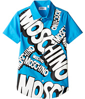 Moschino Kids - Short Sleeve Button Down Shirt w/ Logo Graphic on Front (Big Kids)