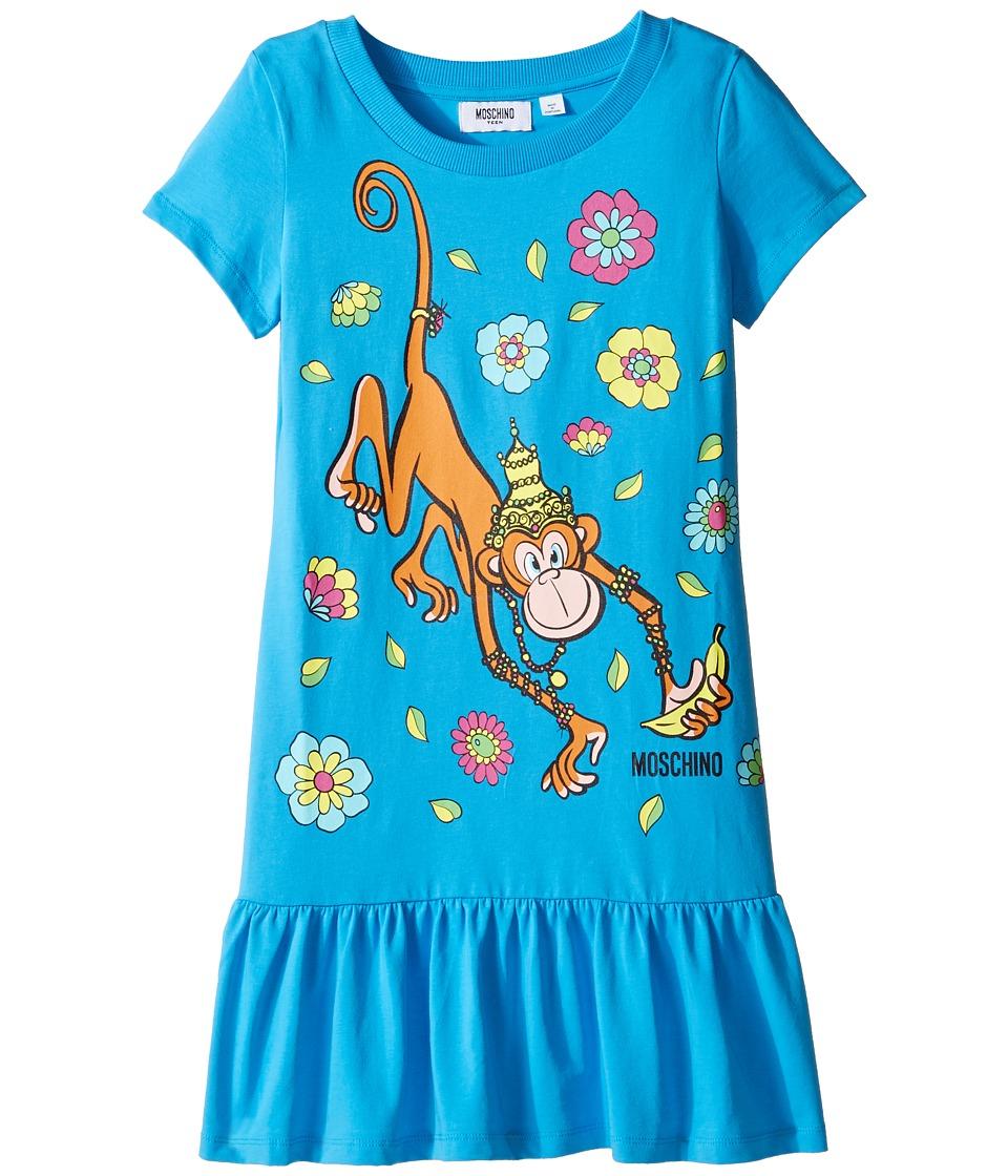 Moschino Kids - Short Sleeve Monkey Graphic Drop Waist Dress