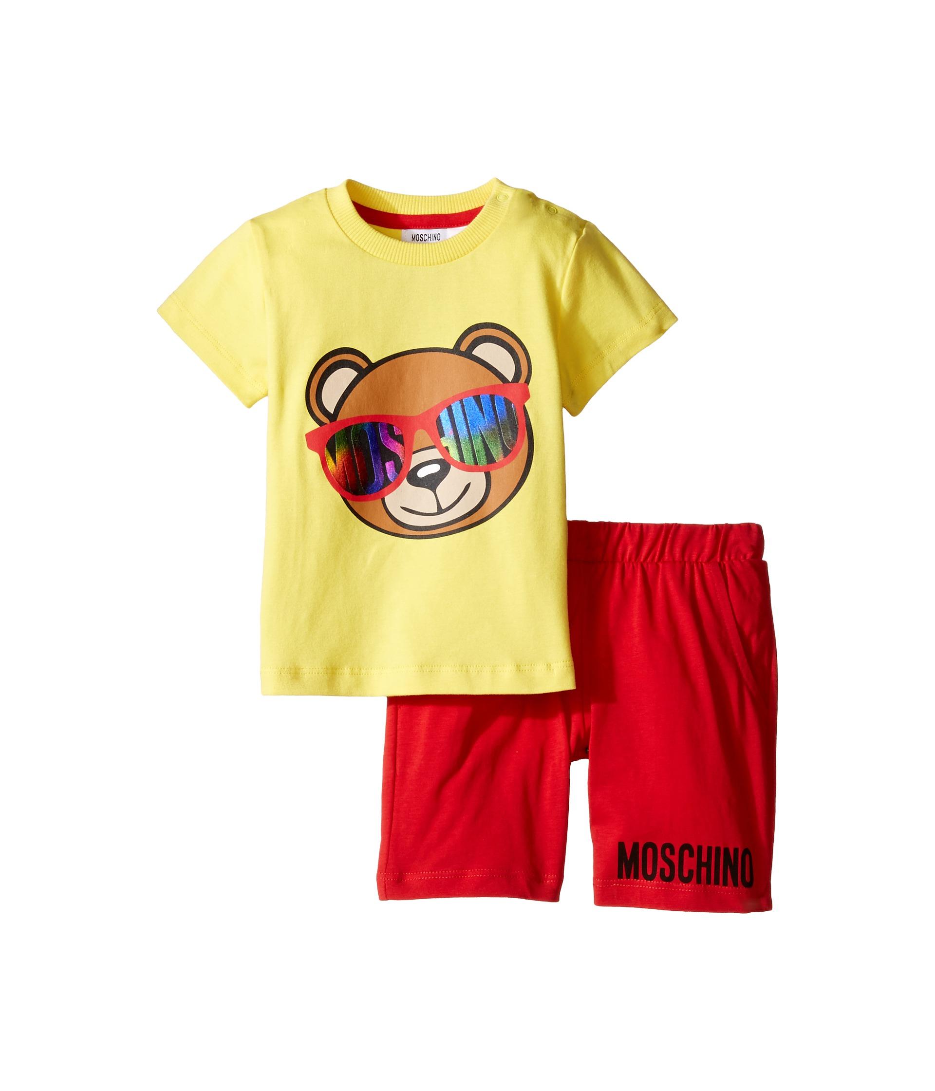 Moschino Kids Short Sleeve Logo Teddy Bear T Shirt