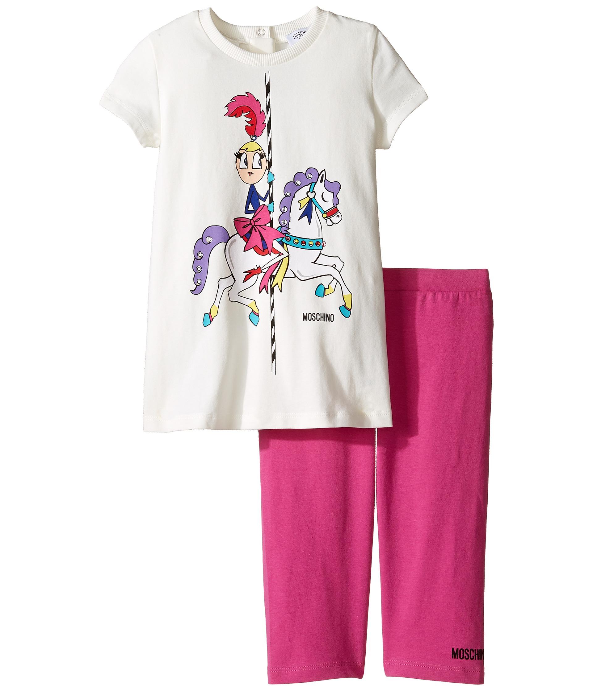Moschino Kids Carousel Graphic T Shirt & Leggings Set