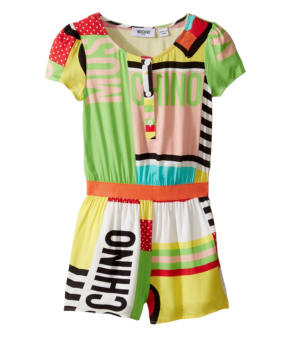 Moschino Kids - Short Sleeve All Over Print Logo Romper