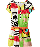 Moschino Kids - Short Sleeve All Over Print Logo Romper (Big Kids)