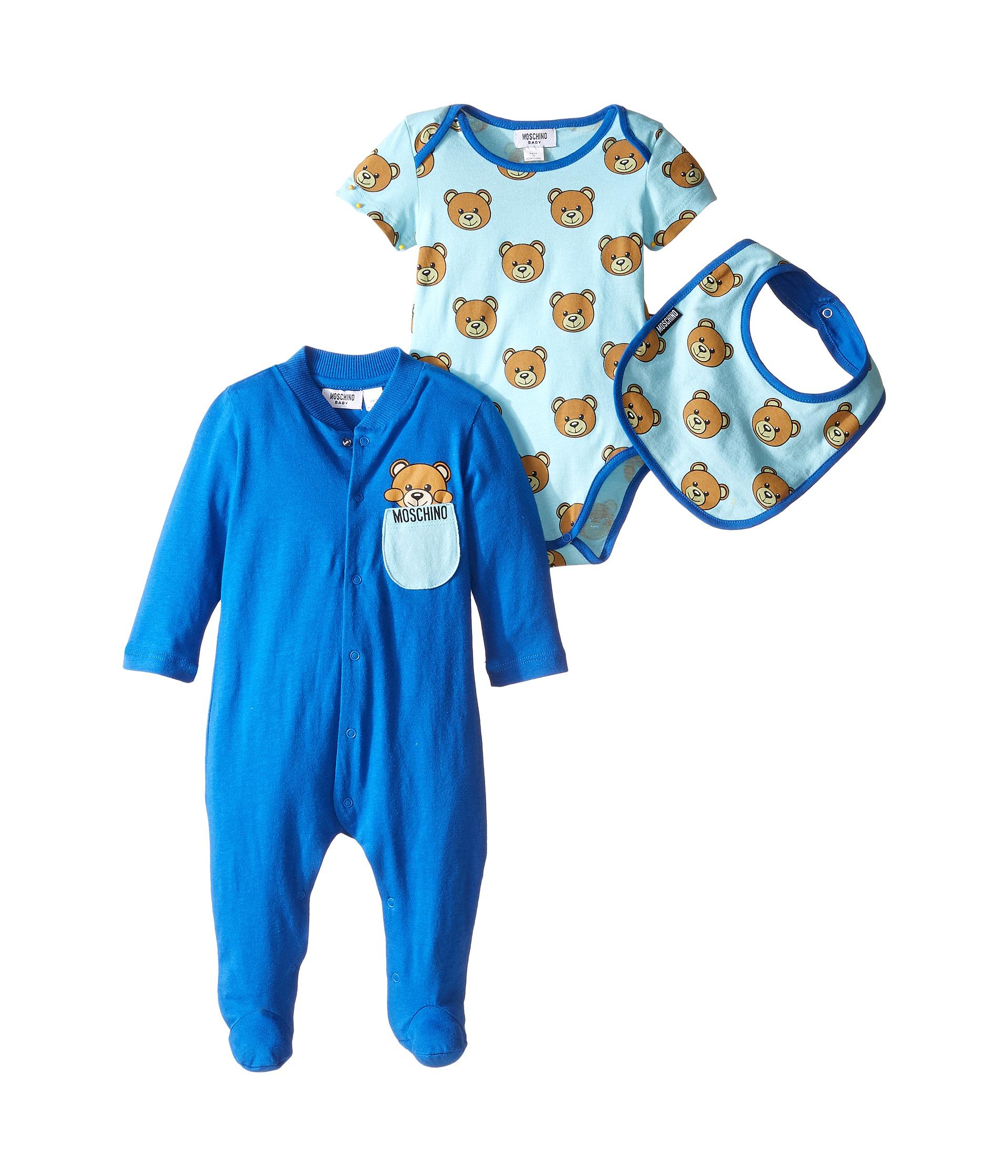 Moschino Kids Teddy Bear Footie Body and Bib Set Infant