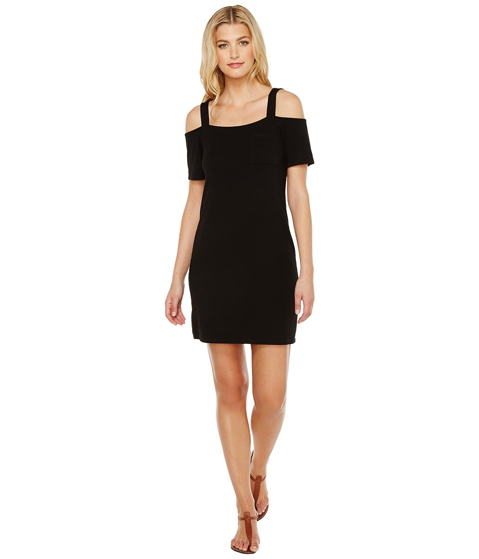 Splendid Cold Shoulder Tee Dress (Black) Women