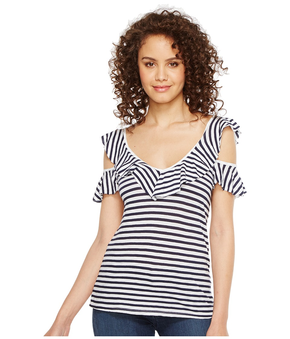Splendid Ruffle Stripe Tee (White/Navy) Women