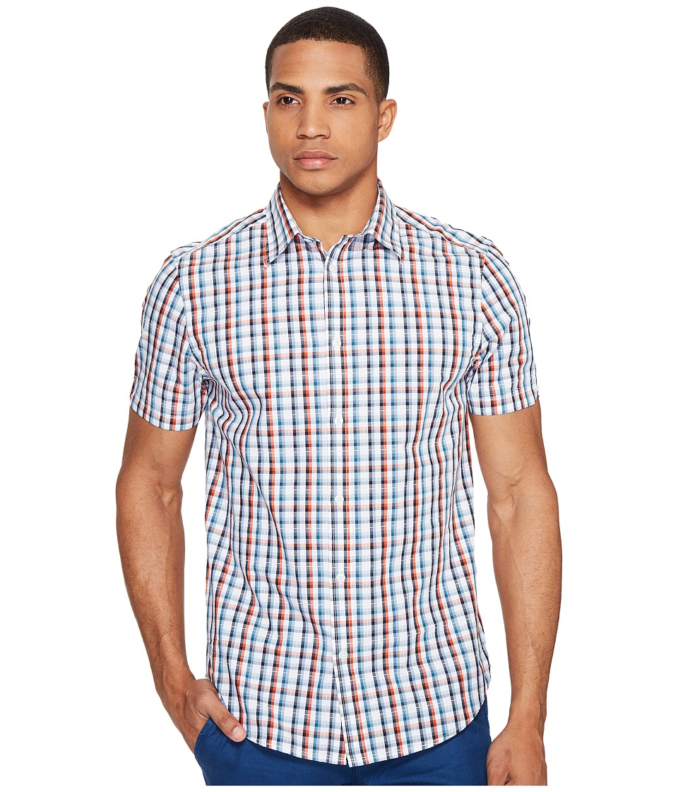 Ben Sherman - Short Sleeve Classic Check Dobby Shirt (Rust Orange) Men's Clothing