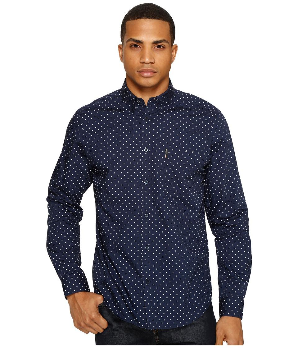 Ben Sherman Long Sleeve Classic Polka Dot Shirt (Navy Blazer) Men
