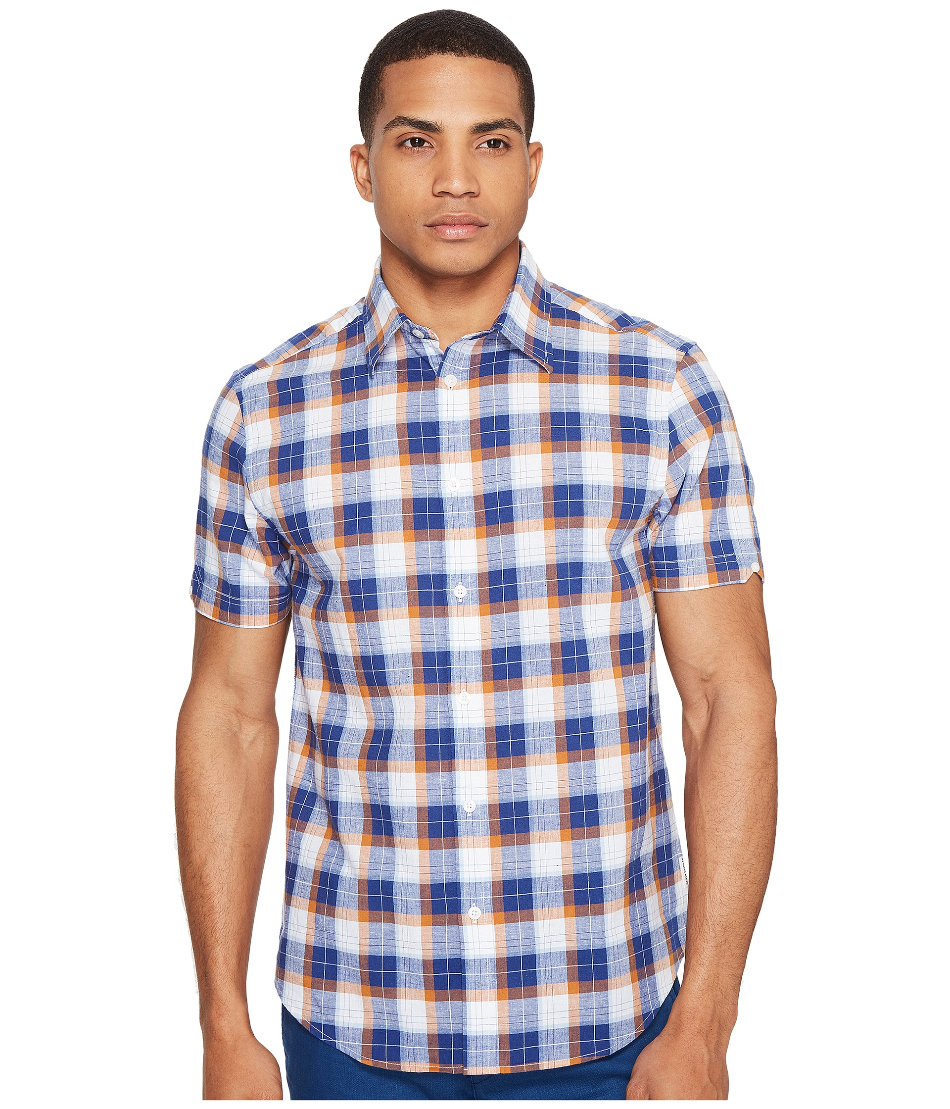 Ben Sherman Short Sleeve Large Plaid Slub Shirt Zappos