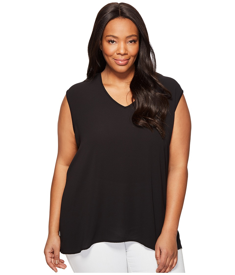 Vince Camuto Specialty Size - Plus Size Extend Shoulder V-Neck Mix Media Textured Top (Rich Black) Womens Clothing