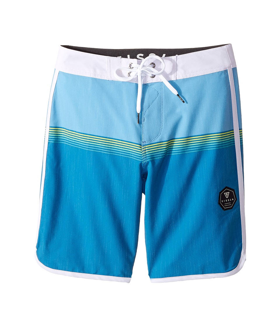 VISSLA Kids - Dredges Four-Way Stretch Boardshorts 17 (Big Kids) (Blue Fog) Boys Swimwear