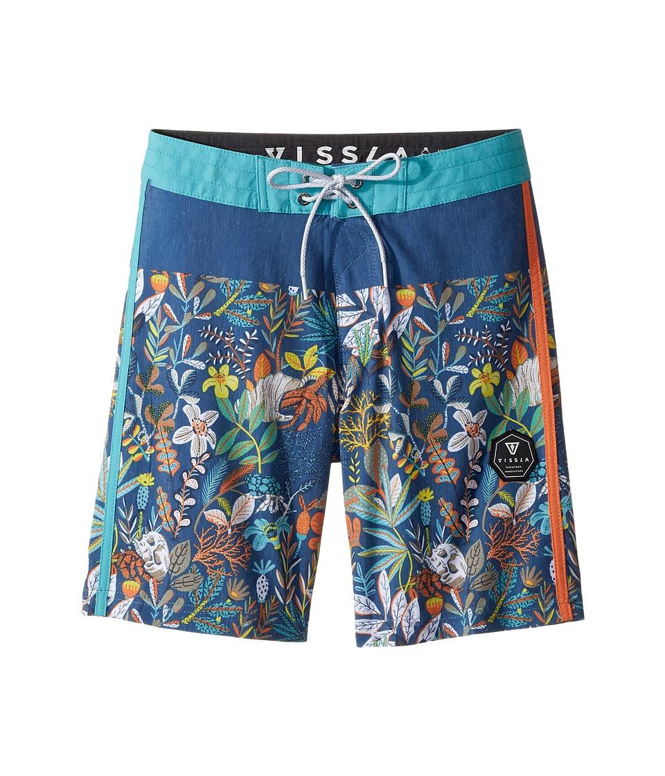 VISSLA Kids Aqua Garden Four-Way Stretch Boardshorts 17 (Big Kids) (Strong Blue) Boy