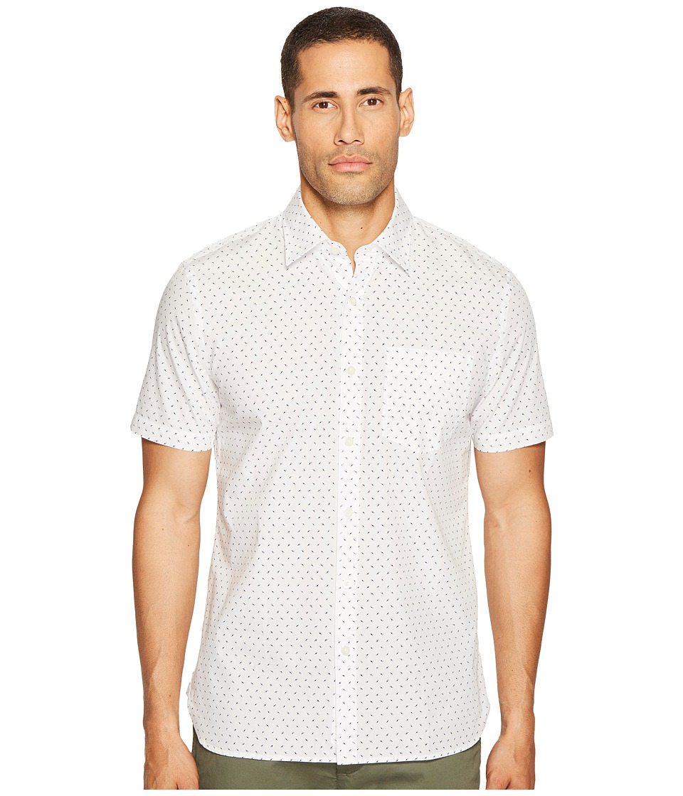 Jack Spade Short Sleeve UFO Print Shirt (White) Men