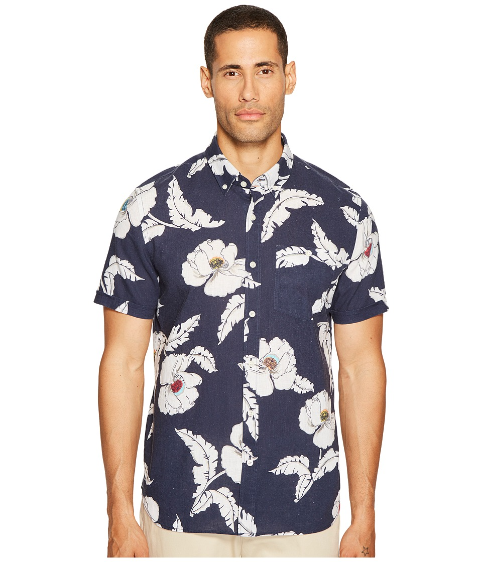Jack Spade Short Sleeve Poppy Flower Print Shirt (Navy) Men