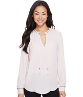 Ivanka Trump - Long Sleeve Woven Blouse with Tassles