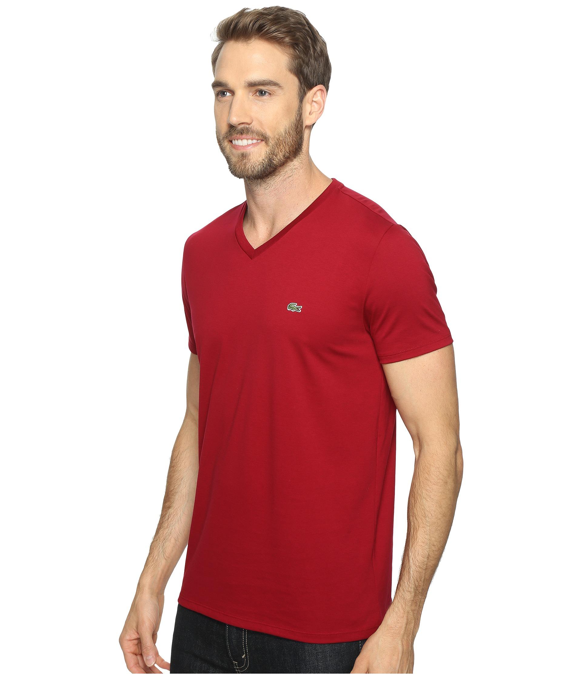 lacoste short sleeve v neck pima jersey tee shirt at. Black Bedroom Furniture Sets. Home Design Ideas